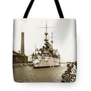 Navy Cruiser Uss New York Going Into Dry Dock San Francisco Circa 1903 Tote Bag