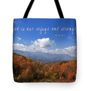 Nc Mountains With Scripture Tote Bag