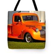 Neat Vintage Chevrolet Truck In Bright Orange Tote Bag