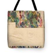 Nebraska Map Vintage Watercolor Tote Bag
