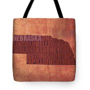 Nebraska Word Art State Map On Canvas Tote Bag