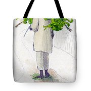 Negro Man Carrying Plantains On Pole Tote Bag