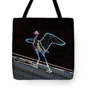 Neon Blue Heron Tote Bag