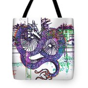 Neon Dragon In High Contrast Tote Bag