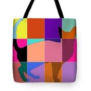 Neon Panels Cat Tote Bag