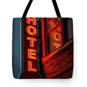 Neon Sign For Hotel In Texas Tote Bag