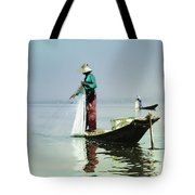 Net Fishing On Inle Lake Tote Bag