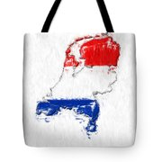Netherlands Painted Flag Map Tote Bag