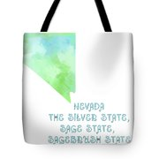 Nevada - The Silver State - Sage State - Sagebrush State - Map - State Phrase - Geology Tote Bag by Andee Design
