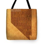 Nevada Word Art State Map On Canvas Tote Bag