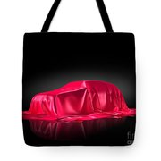 New Car Model Under Red Covering Tote Bag
