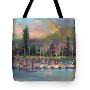 New Covenant - Rainbow Over Marina Tote Bag