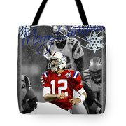 New England Patriots Christmas Card Tote Bag