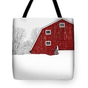 New England Red Barn In Winter Snow Storm Tote Bag