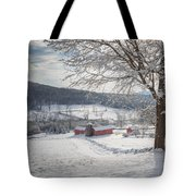 New England Winter Farms Morning Square Tote Bag