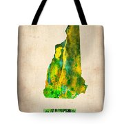 New Hampshire Watercolor Map Tote Bag by Naxart Studio