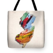 New Jersey Map Art - Painted Map Of New Jersey Tote Bag