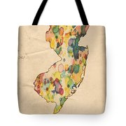 New Jersey Map Vintage Watercolor Tote Bag