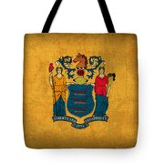 New Jersey State Flag Art On Worn Canvas Tote Bag