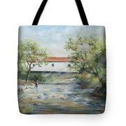New Jersey's Last Covered Bridge Tote Bag by Katalin Luczay