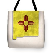 New Mexico Map Art With Flag Design Tote Bag by World Art Prints And Designs