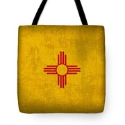 New Mexico State Flag Art On Worn Canvas Tote Bag