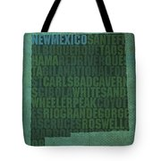 New Mexico Word Art State Map On Canvas Tote Bag