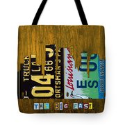 New Orleans Louisiana City Skyline Vintage License Plate Art On Wood Tote Bag by Design Turnpike