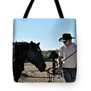 Watercolour Style Cowboy Jim Leading A Horse With Water Tote Bag