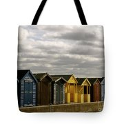 Colourful Wooden English Seaside Beach Huts Tote Bag