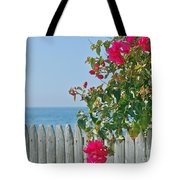 New Photographic Art Print For Sale On The Fence Montecito Bougainvillea Overlooking The Pacific Tote Bag