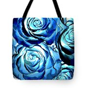 Pop Art Blue Roses Tote Bag