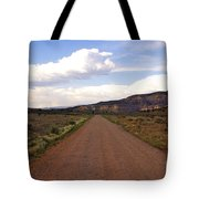 Red Road From The Benedictine Abbey Of Christ In The Desert New Mexico  Tote Bag