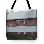 New White Roof  Old Red Barn Tote Bag