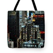New York At Night - Skyscrapers And Office Windows Tote Bag