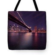 New York Brooklyn Bridge At Night Tote Bag