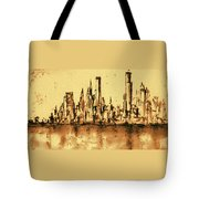 New York City Skyline 79 - Water Color Panorama Tote Bag