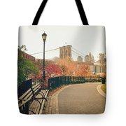 New York City - Autumn - Brooklyn Bridge And Foliage Tote Bag