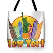 New York City Colorful Skyline In Circle Illustration Tote Bag