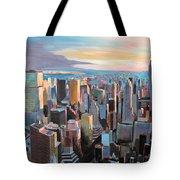 New York City - Manhattan Skyline In Warm Sunlight Tote Bag