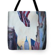 New York City - Manhattan Stars And Stripes Tote Bag