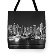 New York City Nyc Skyline Midtown Manhattan At Night Black And White Tote Bag by Jon Holiday