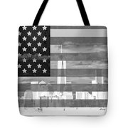 New York City On American Flag Black And White Tote Bag