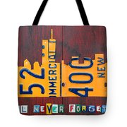 New York City Skyline License Plate Art 911 Twin Towers Statue Of Liberty Tote Bag