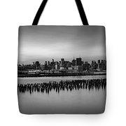 New York City Skyline Stillness Bw Tote Bag