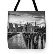 New York City Skyline Sunset Hues Bw Tote Bag