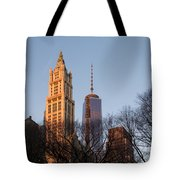 New York City Skyline Through The Trees Tote Bag
