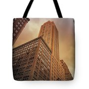 New York City - Skyscraper And Storm Clouds Tote Bag