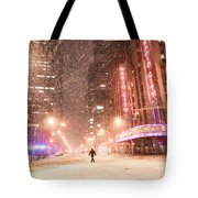 New York City - Snow And Empty Streets - Radio City Music Hall Tote Bag