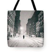 New York City - Snow - Empty Streets At Night Tote Bag